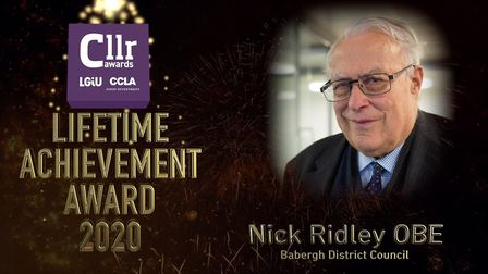 Former Babergh councillor Nick Ridley was posthumously awarded the lifetime achievement award in the LGIU and CCLA...