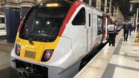 The first Aventra train waits at London's Liverpool Street Station. Picture: GREATER ANGLIA