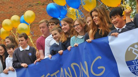 Thorpe St Andrew High pupils in a jubilant mood after learning that their school has been judged to