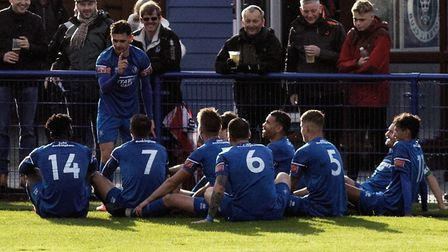 Bury Town players stage an unusual goal celebration following Cemal Ramadan's strike against Dereham Town. The Blues hope...