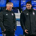 Town manager Paul Lambert and his assistant Stuart Taylor pictured during the game against Charlton Athletic.Picture: St...