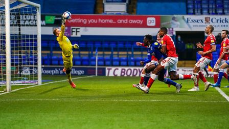 Charlton Athletic keeper Ben Amos saves from an Alan Judge header, following a first half free kick from Andre Dozzell....