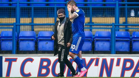 James Norwood heads back to the changing rooms after going off injured in the first half.Picture: Steve Waller...