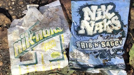 A packet of Nik Naks from the 1980s, found in Brazier's Wood in Ipswich, next to a more modern alternative. Picture: JASON...