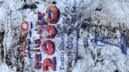 A Tesco carrier bag from 2000, found in Brazier's Wood in Ipswich. Picture: JASON ALEXANDER