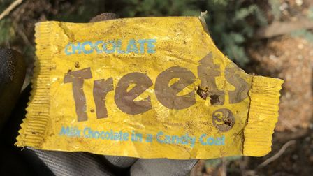 A Treets wrapper found on Bawdsey beach. Picture: JASON ALEXANDER