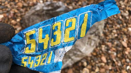 A 54321 bar from the early 1980s, found on Bawdsey beach. Picture: JASON ALEXANDER