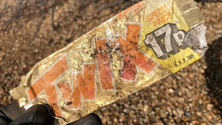 A 1988 Twix wrapper from 1988, found on Bawdsey beach. Picture: JASON ALEXANDER