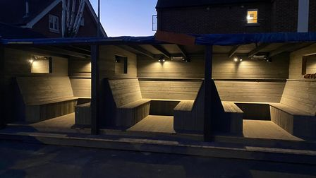 The Greyhound pub's new outdoor dining pods will be complete with tables and cushions when they open on Wednesday.