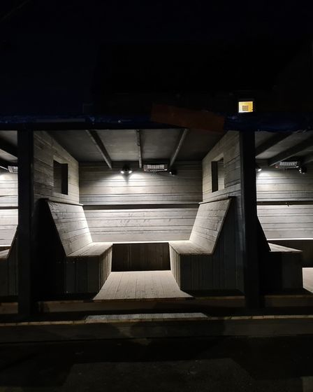 The Greyhound pub's new outdoor dining pods, which will open on Wednesday. Picture: THE GREYHOUND