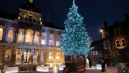 The festive season officially gets underway on the Ipswich Cornhill with the switching on of it's Christmas lights.