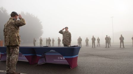 Trainee gunners on El Alamein Flight on parade during the foggy graduation ceremony at RAF Honington Picture: CPL DAVE...