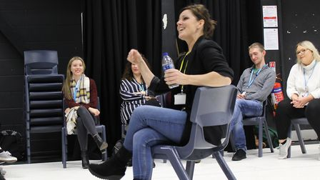 Ruthie Henshall chatting to Suffolk college students about life on stage in 2018 Picture: JOHN NICE