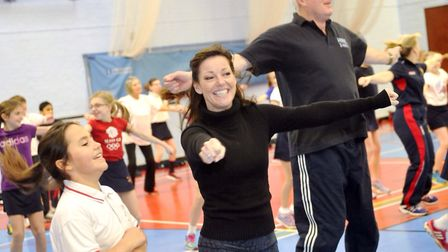 West End star Ruthie Henshall participates in St Joseph Preparatory School's Aerobathon with her daughter and the schools' he...