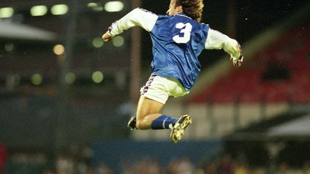 Mauricio Taricco in mid-flight after scoring in Town's 5-1 win over Exeter City in August, 1998. Taricco features in Carl...