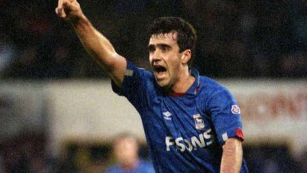 Neil Thompson, celebrating a goal against Tranmere Rovers in 1991