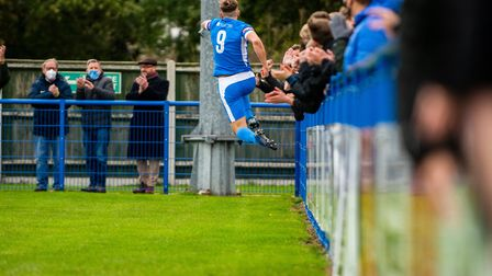 Will Davies celebrates scoring the opening goal for Leiston in their 3-2 home defeat to Barnet in the FA Cup. Picture...