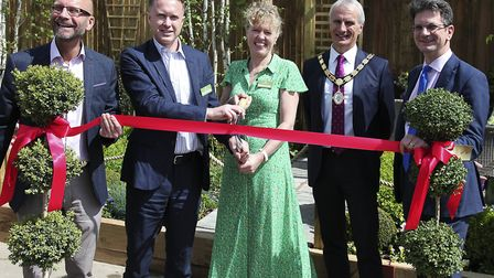 Notcutts vice chairman Caroline Notcutt, centre, at the official opening of its Booker garden centre in Marlow Picture...