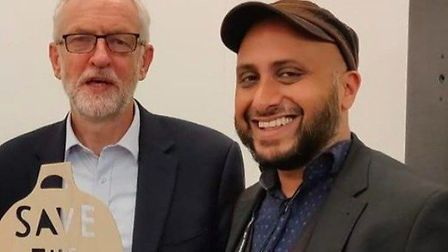 Puru Miah with former Labour leader Jeremy Corbyn. Picture: LDRS