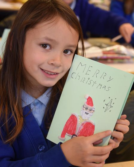 A Father Christmas card by Saphira, eight, at St Mary's Junior School at Long Stratton, for the proj