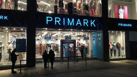 Shoppers queue at Primark in Norwich
