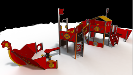 The design for the new Viking themed play equipment set to be introduced at Castle Park.