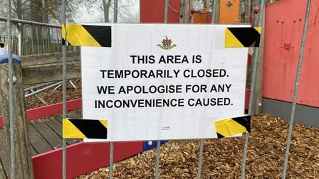 The old play equipment at Castle Park has been cordoned off to the public.