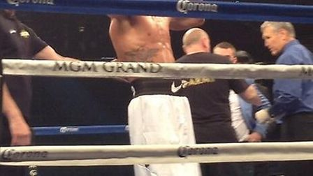 Anthony Ogogo celebrate his third-round knockout win against Puerto Rico's Jonel Tapia at the MGM Gr