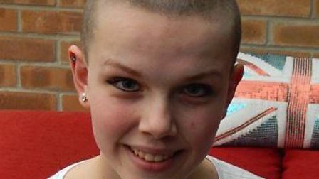 Honor Saunders-Johnson, 13, has shaved her head to raise funds for Leukaemia and Lymphoma research a