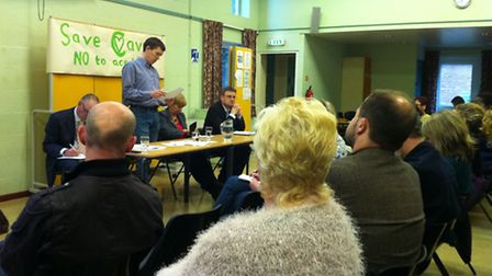 Parent David Ward speaks at a public meeting about the future of Cavell Primary School, May 1, 2014