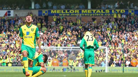 Robert Snodgrass joins in with the dejection at the final whistle of Norwich City's home defeat to L
