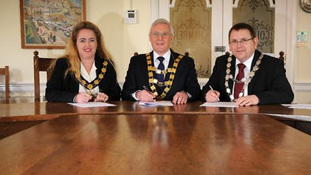 North Norfolk town mayors sign the CCTV contract. North Walsham town mayor Jacqueline Belson, Sherin