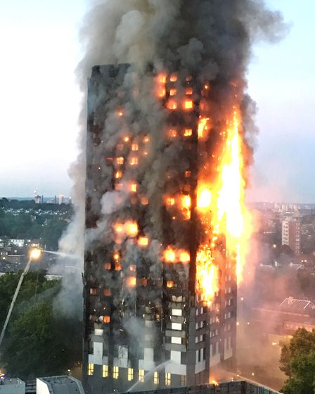 The Grenfell Tower building on fire