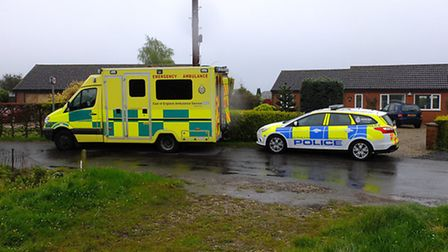 Emergency services at scene of an unexplained death at Walpole Cross Keys.