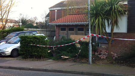The damage on Fulcher Avenue, Cromer, after a car crashed into a porch.