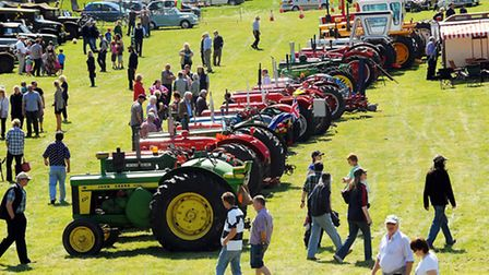 Some of the tractors on show at last year's Classic Vehicle Rally and Country Fayre at Earsham Hall.