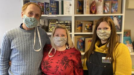 David and Leanne Fridd, owners of Bookbugs and Dragon Tales, with staff member Sally Davies.