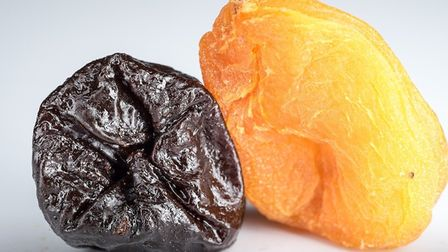 A prune and a dried apricot