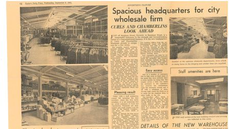 Newspaper clipping for the Curls and Chamberlins merger