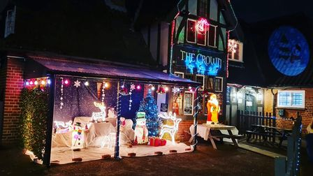 The Christmas lights display outside the Crown Pub in Costessey.