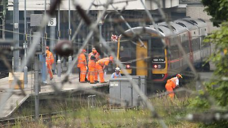 Accident investigators at the scene of the train collision at Norwich railway station on 21st July 2