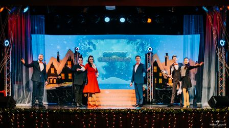 The cast of Strictly Christmas on stage at Cromer Pier's Pavilion Theatre.