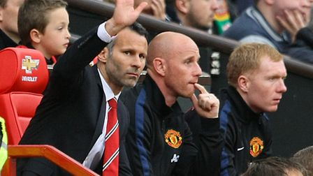 Man Utd interim manager Ryan Giggs was in good company alongside Nicky Butt and Paul Scholes. Pictur