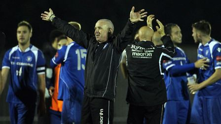APRIL 30: XLowestoft players and staff celebrate at the final whistle during the Ryman Isthmian Prem