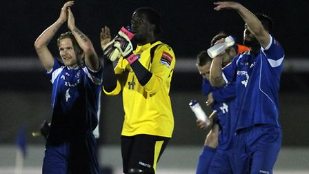APRIL 30: Lowestoft players and staff celebrate at the final whistle during the Ryman Isthmian Premi