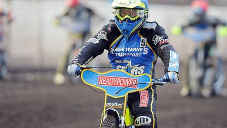 Action from King's Lynn Stars v Leicester Lions at the Norfolk Arena - Kenneth Bjerre. Picture: Matt