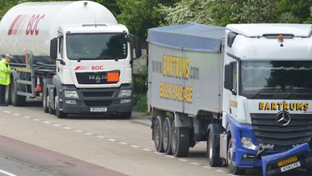 Scene of the accident involving a tanker on the A47 Norwich bypass this morning. Photo: Bill Smith