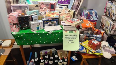 Selection of the goodies that Jubilee Court had on sale and the raffle prizes which were generously donated by local people.