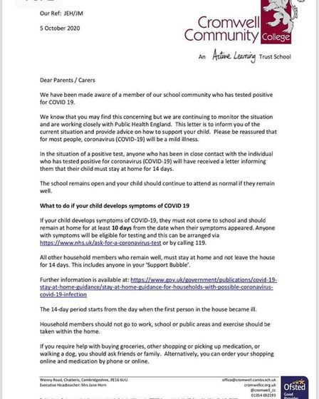 Letter to parents and carers sent on October 5. Picture: Supplied