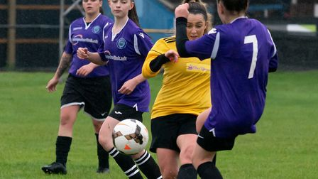 Yaz Holmes in action for March Town Ladies against Riverside Ladies at the GER. Picture: STEVE HONE